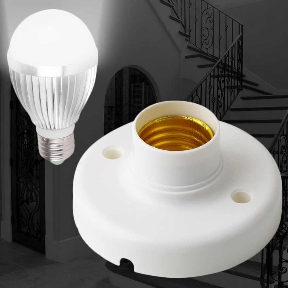 Hot Worldwide 1Pcs useful design E27 Round Plastic Base Screw Light Bulb Lamp Socket Holder White
