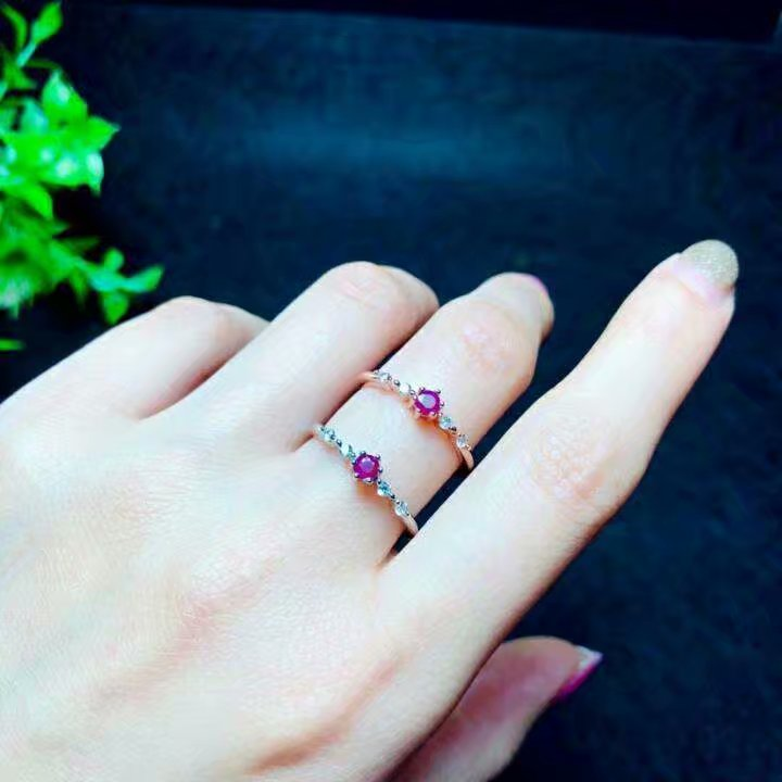 Shilovem 925 bague en argent sterling naturel rouge rubis bijoux fins femmes à la mode ethnique mariage ouvert 3*3mm qj030301agh - 5