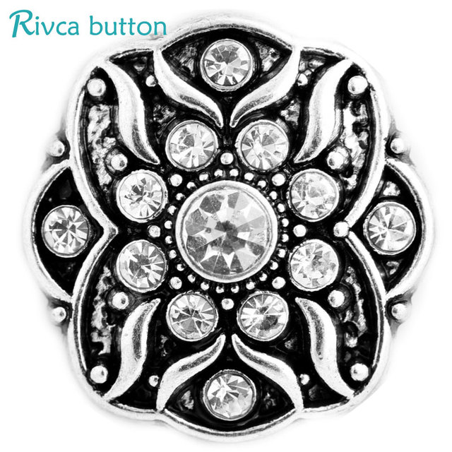 Rivca Snaps Jewelry Rhinestone Metal Style Snaps Bracelets For Women Bangle Europe Beads Christmas Gifts D03248 Women Jewelry