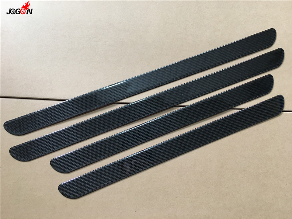Exterior Carbon Fiber Car Door Sill Scuff Plate Threshold Plate Cover Trim For Audi A3 A4 A5 A6