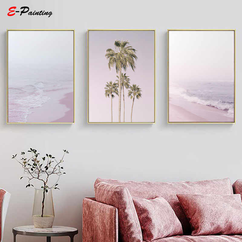 Modern Painting Canvas Pastel Wall Art Pink Beach Prints Tropical Palm Trees Nursery Decor Living Room Home Decoration Picture