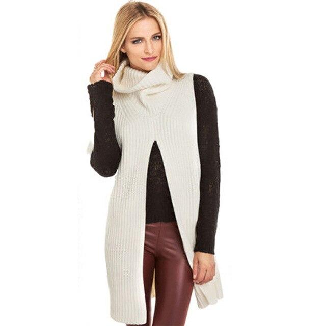f15a8b0e288 Winter Women Turtleneck Sweater Sleeveless Knitted Top Long Sweater Dress  High Split Loose Pullover Jumper Pull Women Sweaters