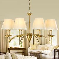 Винтажная латунная лампа для прихожей, железная Подвесная лампа для столовой, отеля, виллы, ретро подвесные светильники с абажуром, освещен