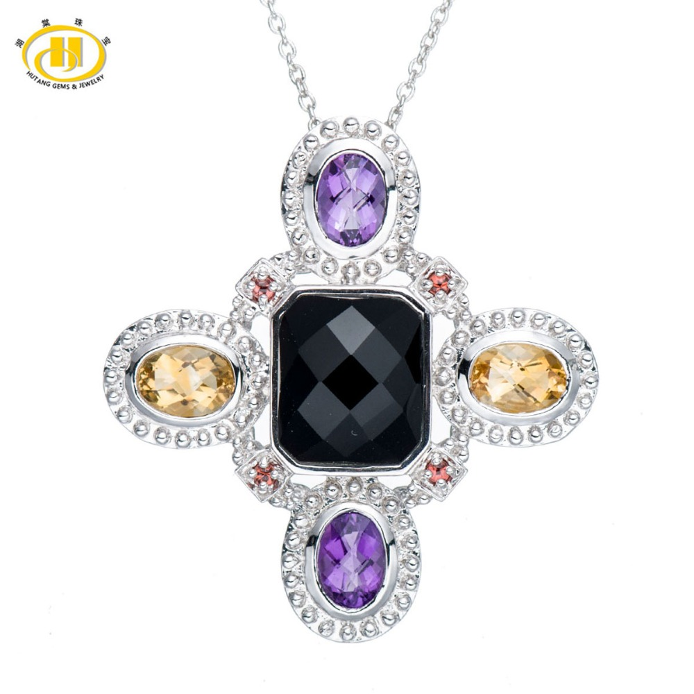 Hutang Mix Gemstone Cross Choker Necklace Women Genuine Black Agate Citrine Amethyst Necklaces Pendants Fine Silver 925 Bijoux все цены