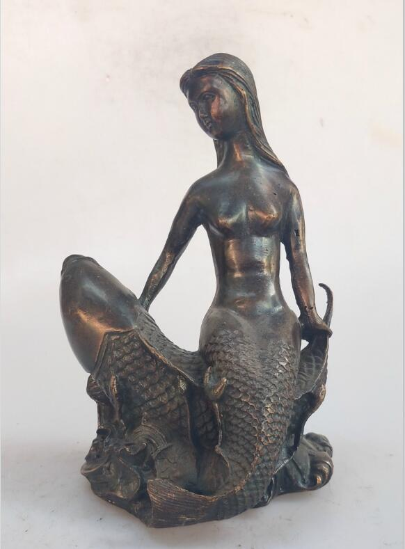 Feng Shui Decoration Mermaid brass statue Chinese hand made Red copper sculpture home metal crafts Collection