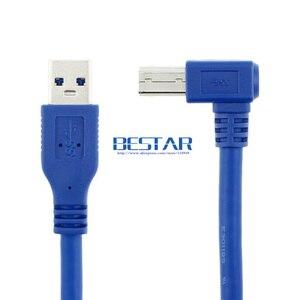 Image 2 - 90 Gradi Destro Angolato USB 3.0 A Maschio a USB 3.0 Tipo B maschio BM USB3.0 Cavo 0.6 m 1 m 1.8 m 2FT 3FT 6FT Per scanner stampante HDD