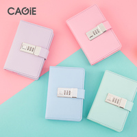 CAGIE Cute Mini Notebook A7 Leather Journal Diary With Lock Kawaii Agenda Traveler Notebooks Office School