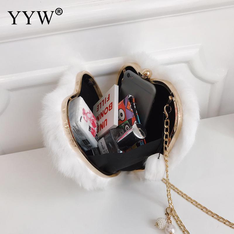 Spalla Fashion Bag A 2018 gray Di Crossbody brown white Sveglio Donne Della Trendy Forma Tracolla Borsa Ragazza Mujer Black Cuore Per Borse Catena Le Casual wAvaxaq
