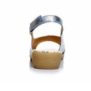 Image 4 - BEYARNE/летние женские босоножки из натуральной кожи; Удобная женская обувь; Сандалии гладиаторы; Женские сандалии на плоской подошве; Модная обувь; 128