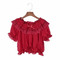 Qlychee Women Blouses Spring Autumn Lolita Flowers Puffed Sleeves Blouses Shirt Femme Tops Ladies Blouse Chemise