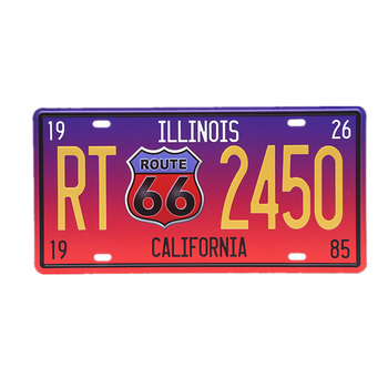 Shabby Chic Metal Tin Sign USA Route 66 Car Number License Plate Poster Vintage Bar Pub Wall Garage Home Decoration 15x30cm A667
