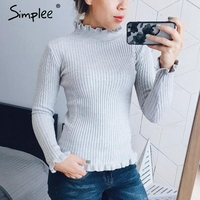 Simplee Turtleneck Solid Cotton Knitted Autumn Sweater Women Stringy Selvedge Long Sleeve Winter 2017 Casual Slim