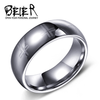Beier 100 Real 2015 Hot Sale UK US 8mm Silver Colour Top Quality Cross Tungsten Ring