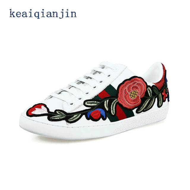 Embroidered Shoes 2017 Spring Autumn Fashion Lace-Up Flat Platform Shoes White Genuine Leather Woman Casual Embroidered Shoes