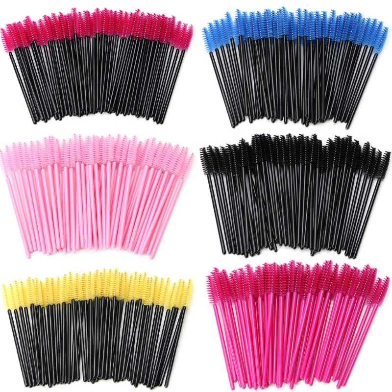 50 unidades/pacote Mini Pestana Escovas Descartáveis Mascara Varinhas Aplicador Wand Brushes Cílios Spoolers Comb Brushes Maquiagem Tool Kit