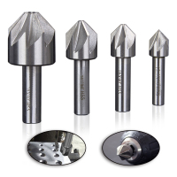 Hakkin 4Pcs 12 5 16 20 30mm HSS Countersink 6 8 Flute 90 Degree Chamfering End