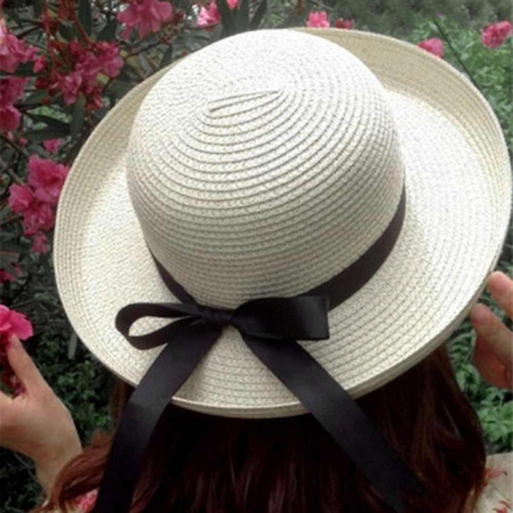 เลดี้ฤดูร้อน Boater Sun หมวกหมวกริบบิ้นรอบแบน Top Straw Beach หมวก Panama หมวกผู้หญิงหมวกป้องกันรังสียูวี chapeau Femme