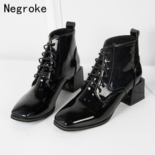 2019 Fashion Ankle Boots Women Autumn Winter Boots Shining PU Leather Square High Heels Lace-Up Women Shoes Zapatos Mujer