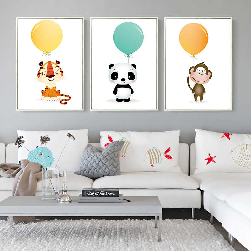 Nordic Minimalist Watercolor Balloon Panda Monkey Tiger Animal Canvas Painting Art Print Poster Picture Child Bedroom Home Decor