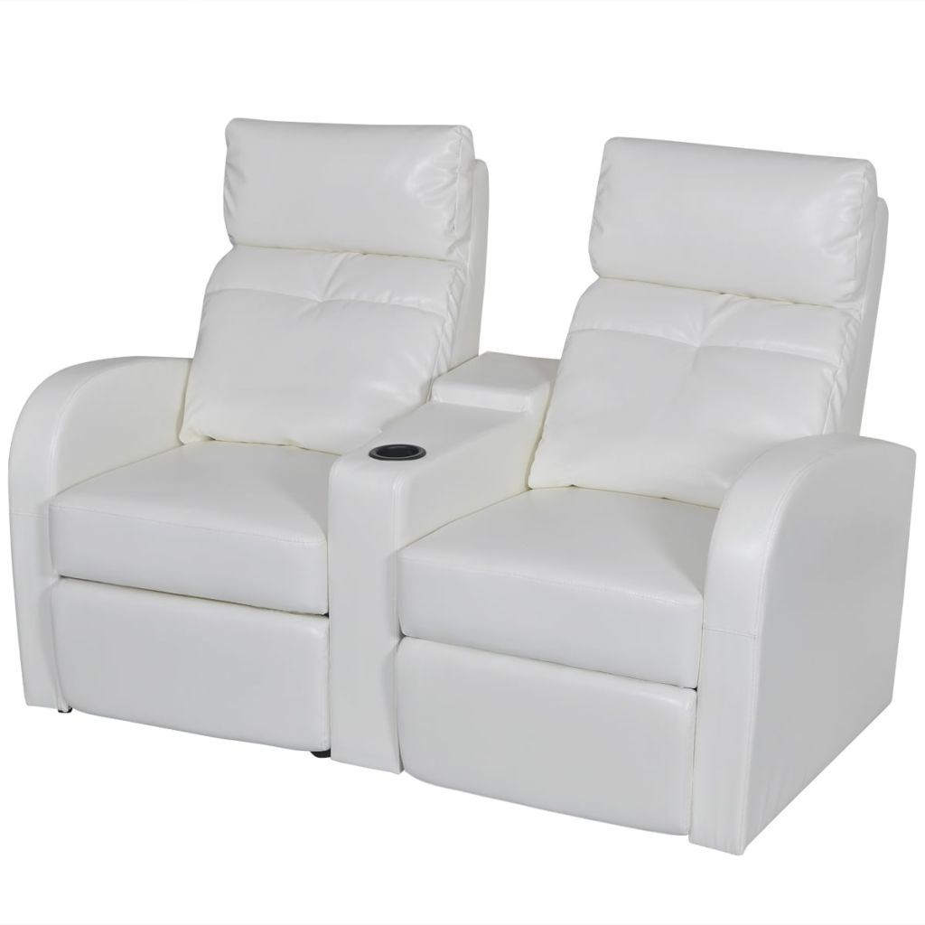 Us 422 99 Vidaxl Artificial Leather Home Cinema Recliner Reclining Sofa 2 Seat White In Living Room Chairs From Furniture On Aliexpress Com