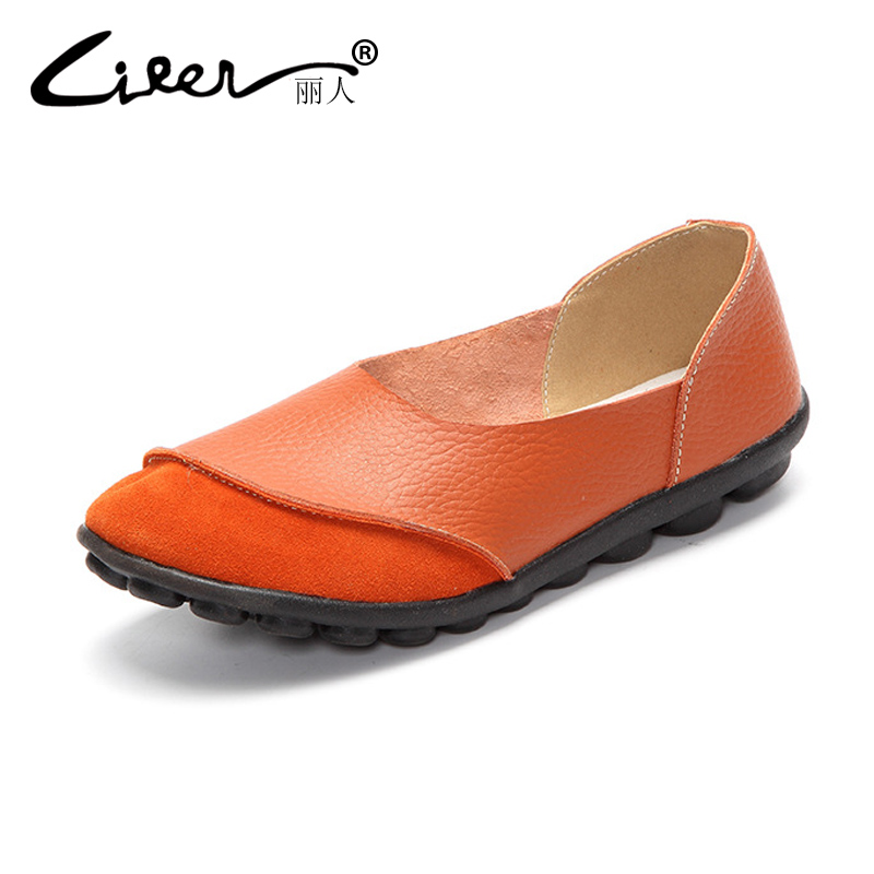Soft Genuine Leather Women Flats Shoes Moccasin Fashion Casual Loafers Slip on Women Shoes Ballerines 2018 Plus Size 35-43