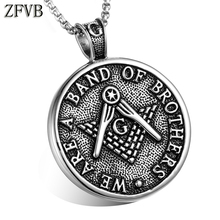 ZFVB Vintage Freemason Pendant & Necklaces Men 316L Stainless Steel Charm Masonic Signet Necklace Pendants Mens Jewelry Gift