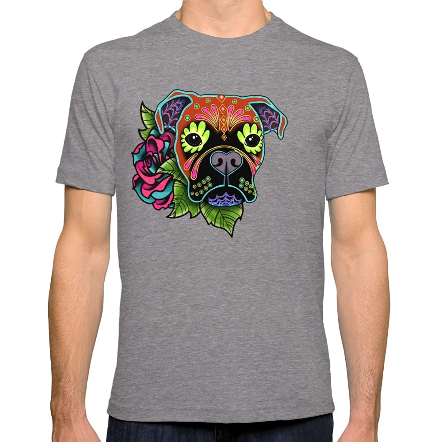 Design your own t-shirt for dogs - Cheap T Shirt Design Short Crew Neck Boxer In Fawn Day Of The Dead Sugar Skull Dog Fitted Printed Mens Tee