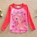 5 unids/lote! 2015 nuevo estilo elegante y cómodo precioso My Little Pony patrón 100% algodón chicas manga larga camisetas PD1121