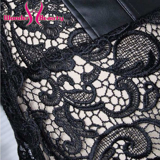 Women Faux Leather Burlesque lace corset Dress