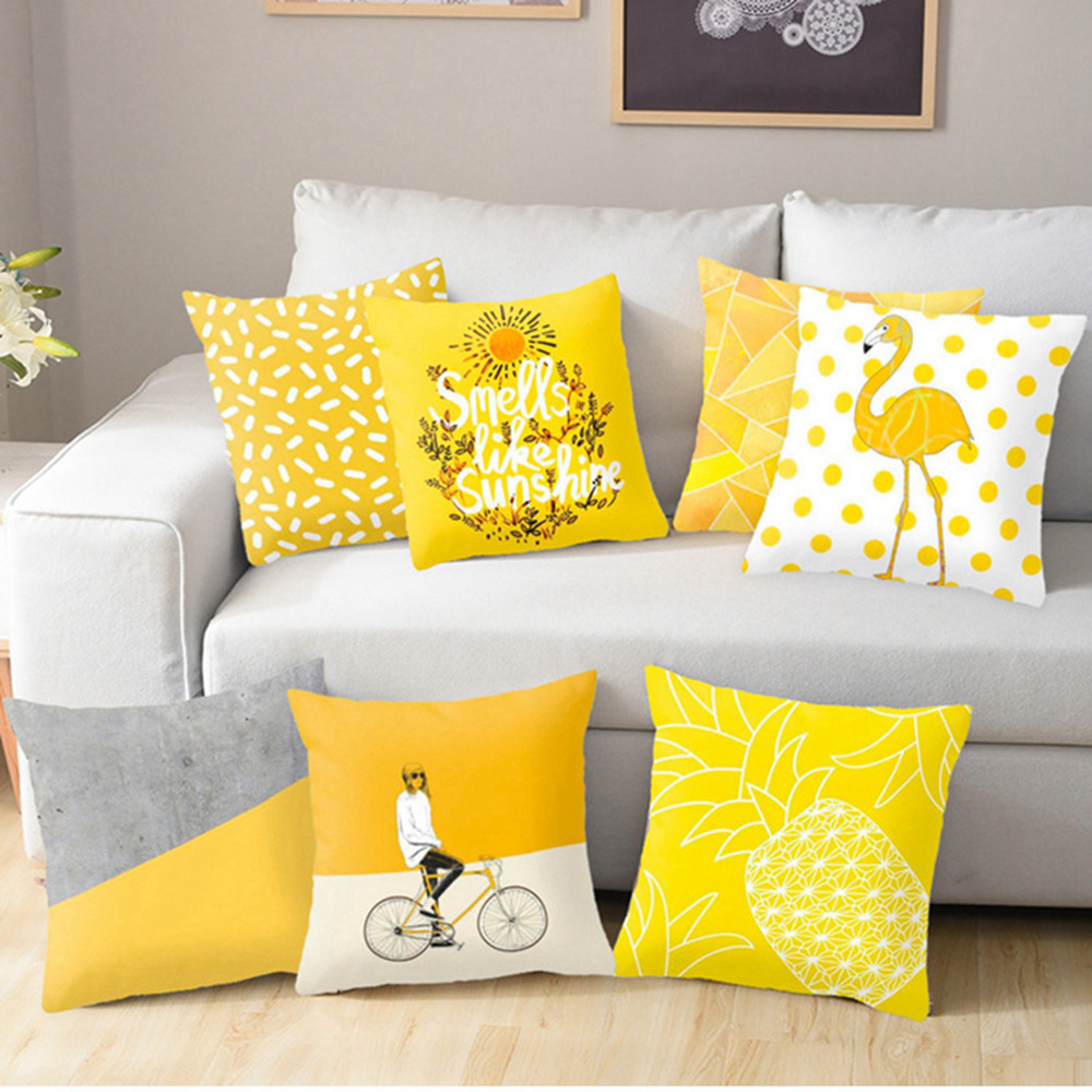 Polyester Geometric Cushion Yellow Pineapple Pillow Decorative Cushion For Sofa DIY Printed Pillow Seat Chair Cushion