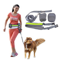 Multifunction Elastic Nylon Belt Running Dog Leash Padded Waist With Reflective Strip Zipper Bag Bottle