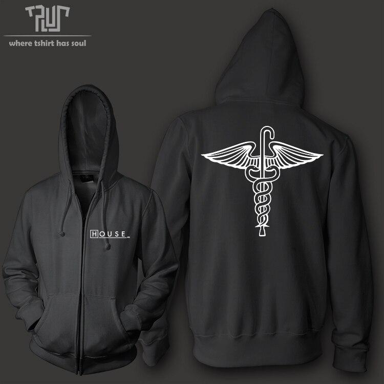 HOUSE MD men women unisex zip up hoodie hooded sweatershirt 800g weight organic cotton polyester fleece