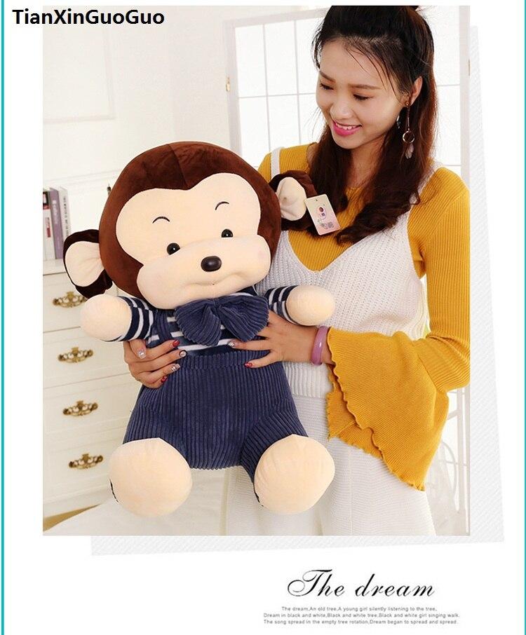 Grand 50 cm belle bleu tissu singe en peluche jouet bande dessinée singe doux poupée coussin cadeau d'anniversaire s0538