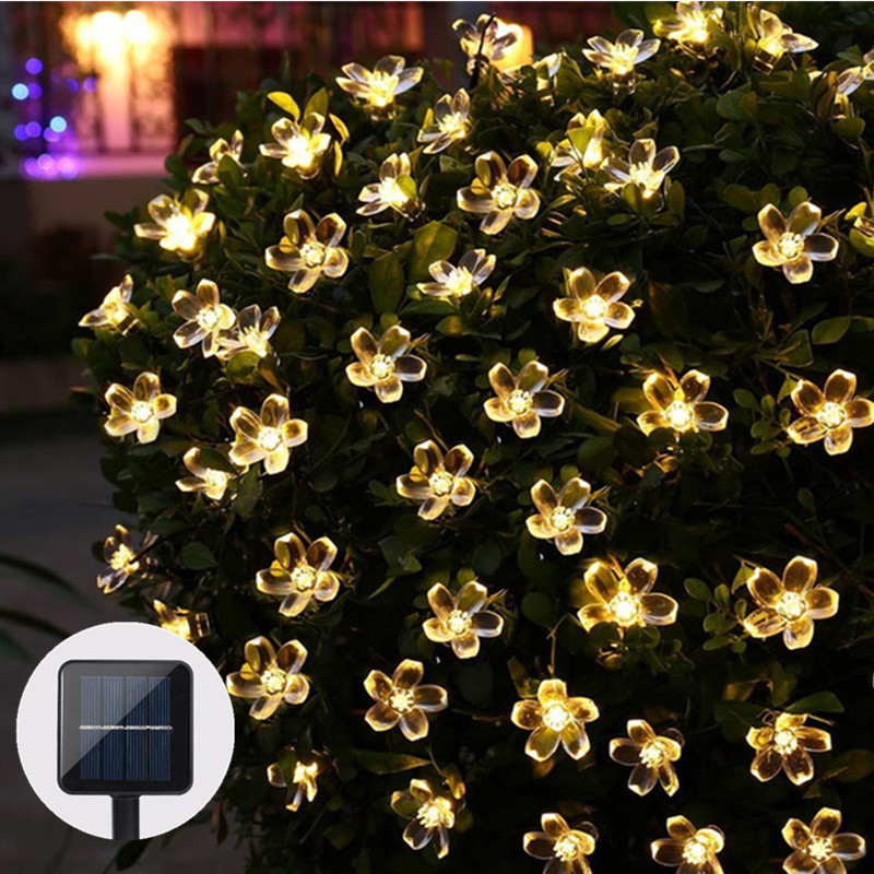 50 LEDS Peach Blossom Flower Solar Lamp 7M Power LED String Fairy Lights Solar Garlands Garden Christmas Decor For Outdoor