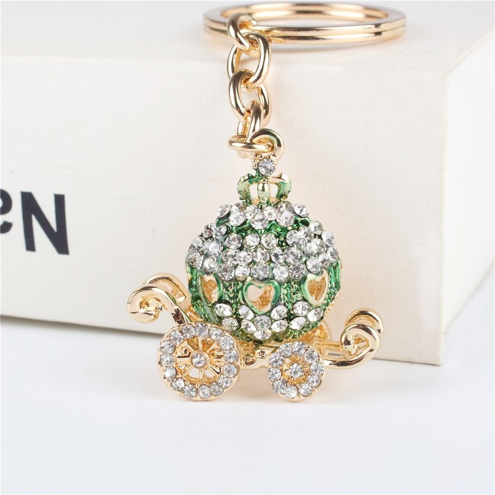 Green Pumpkin Carriage Pendant Charm Rhinestone Crystal Purse Bag Keyring Key Chain Accessories Wedding Party Holder Keyfob Gift
