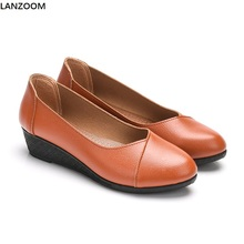LANZOOM 2017 new style wedges shoes women antiskid rubber sole soft bottom Summer footwear women pumps pu leather shoes