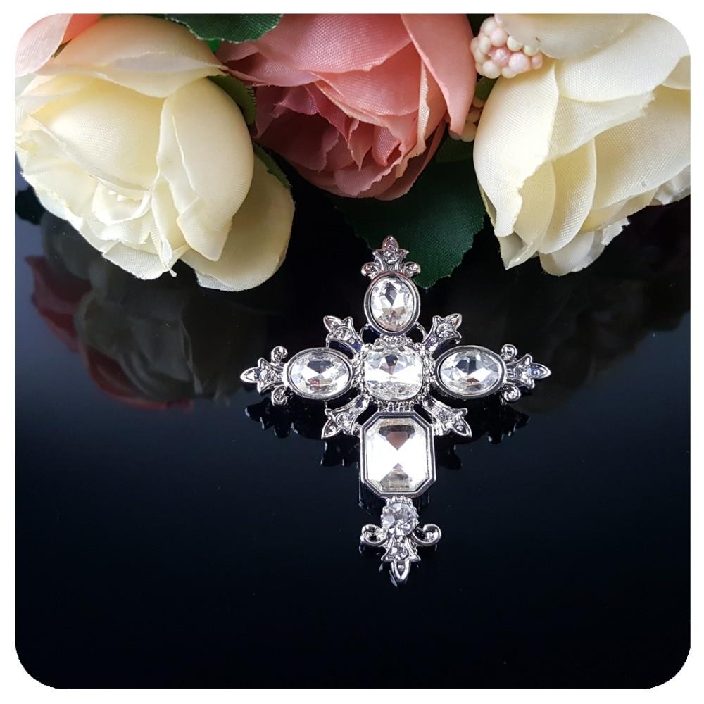 Vintage Style Crystal Gothic Cross Brooch Pin - Նորաձև զարդեր - Լուսանկար 2