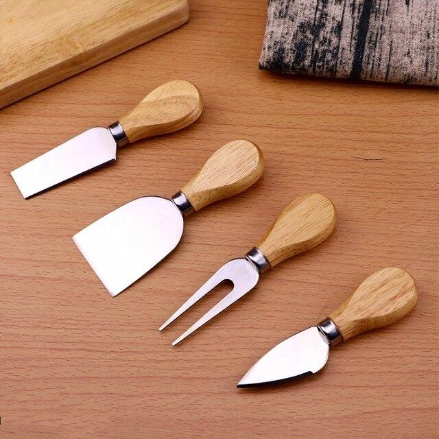 4 pçs/set Faca do Queijo Set Punho de Madeira Cortador de Queijo Fatiador De Queijo do Aço Inoxidável Acessórios de Cozinha Cozinhar Ferramentas Úteis Definir