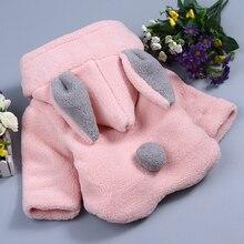 Cute Rabbit Ear Hooded Girls Coat Autumn Winter Warm Kids Jacket Outerwear Children Clothing Baby Tops Girl Coats  TMY26