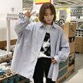 Primavera Coreano Azul de Grandes Dimensões Batwing Camisas de Manga Longa Mulheres Harajuku BF Solto Streetwear Blusas Listradas Casual Feminino Tops
