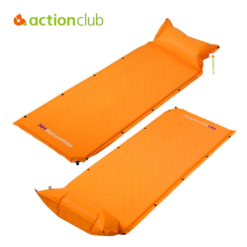 ФОТО NatureHike Self Inflating Camping Hiking Mattress Sleeping Pad Mat+Pillow Picnic Outing Moistureproof Splicing Air Tent Mattress