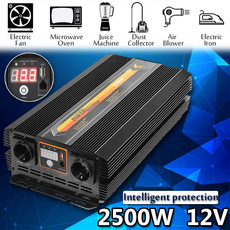 Solar Power Inverter 2500W Max 5000W DC 12V 220To 240V Modified Sine Wave Converter Power Supplies Sine Wave Converter Adapter
