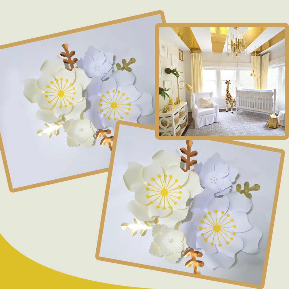 Handmade White Ivory Easy Made DIY Paper Flowers Gold Leaves Set For Nursery Wall Deco Baby Shower Backdrop Video Tutorials in Artificial Dried Flowers from Home Garden