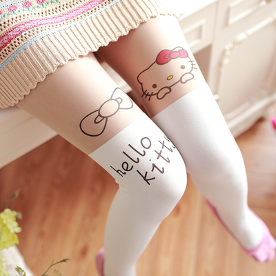 Japanese Kawaii Cartoon Animal Patchwork Fake Thigh High Stocking Tights Sweet Lolita Girls Pantyhose