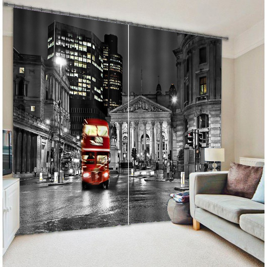 London City Bus Mordern 3D Blackout Window Curtains For Living room Bedding room Hotel Office Curtain