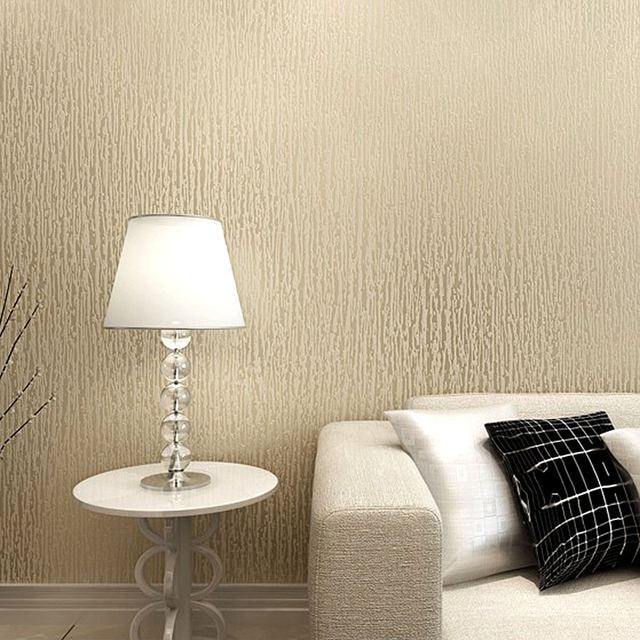 Champagne Gold White Beige Vertical Stripes Textured Wall Paper Plain Solid  Color Vinyl Waterproof Wallpaper For