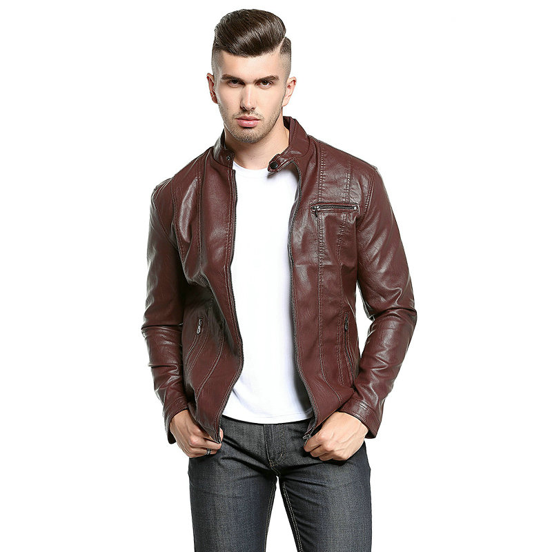 2018 Spring Autumn PU Leather jacket Men Casual Slim Fit Male Leather Jacket Coat