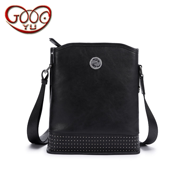 High-grade leather men's business shoulder Messenger bag first layer of leather vertical section willow nail briefcase qiaobao 2018 new korean version of the first layer of women s leather packet messenger bag female shoulder diagonal cross bag