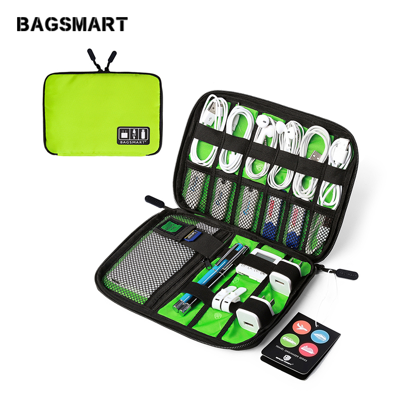BAGSMART الملحقات الإلكترونية التعبئة المنظمون لسماعة USB SD بطاقة شاحن كابل بيانات حقيبة سفر حزمة حقيبة القضية