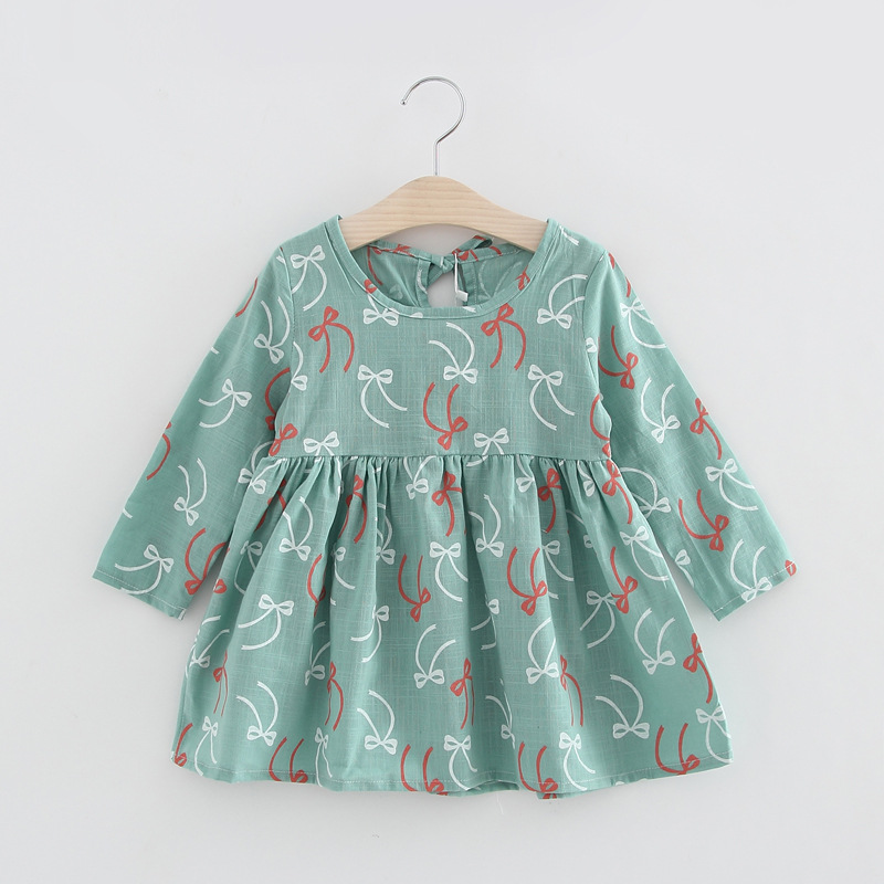 Cute Floral Printed Baby Girls Dresses Spring Autumn Long Sleeve Bow Princess Dress Casual Costume Kids Clothes Tutu Vestidos 2 10yrs girls dress kids princess dress long sleeve baby girl cute palace style blue and white floral embroidery spring 2017 new